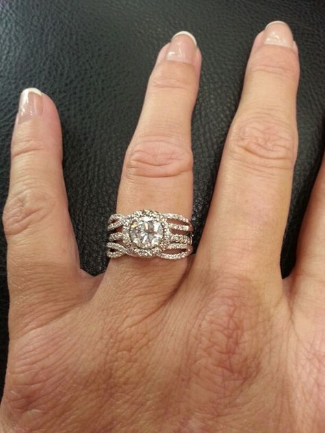 My halo engagement ring with ring guard for wedding bands This was