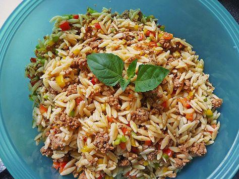 Kritharaki - Salat mit Hackfleisch, ein tolles Rezept aus der Kategorie Pasta & Nudel. Bewertungen: 342. Durchschnitt: Ø 4,6.