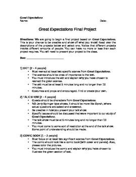 Great Expectation Final Project Essay Help Expectations
