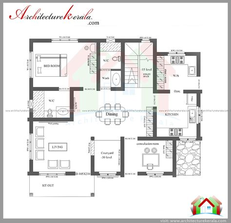 Architecture Kerala 3 Bedroom House Plan And Elevation Consultation Room Large Dining Drawing New House Plans Kerala Houses House Plans With Pictures