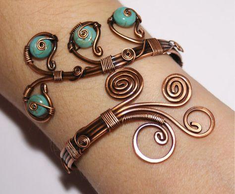 turquoise cuff bracelet wire wrapped jewelry handmade copper jewelry