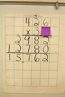 Cover a number, have them figure it out, excellent higher level activity! (or use the post it note to make it clear where they are in the multiplication process...)... from Mrs. C's Classroom (blog)