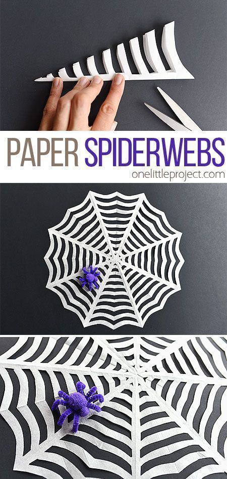 How To Make Paper Spider Webs These Paper Spider Webs Are So Easy To Make And Homemade Halloween Decorations Halloween Crafts Fun Halloween Crafts