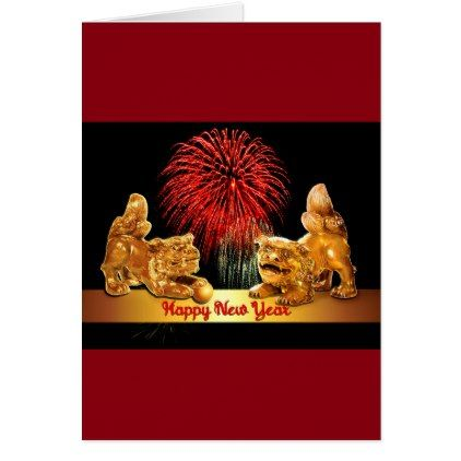 Chinese New Year Foo Dogs And Fireworks Card Love Gifts Cyo Personalize Diy Chinese New Year Gifts Dogs And Fireworks Chinese New Year