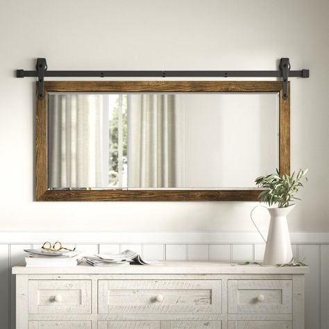 Farmhouse Bathroom Mirrors, Rustic Mirrors, Bathroom Renos, Master Bathroom, Farm House Bathroom Decor, Wood Framed Bathroom Mirrors, Shiplap Bathroom Wall, White Bathroom Mirror, Bathroom Mirror Makeover