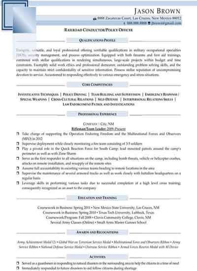 Railroad Police Officer Cover Letter