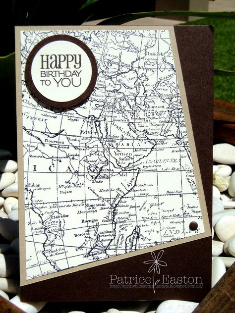 Just Add Ink Sketch, World Map, Early Espresso - Spring Blossom Musings