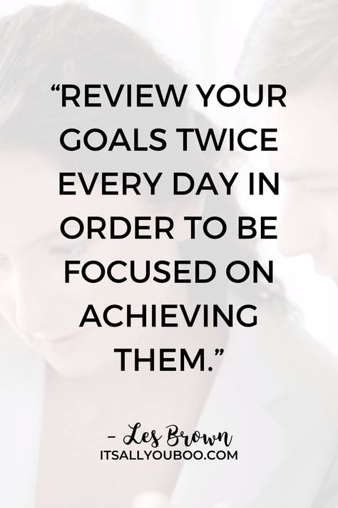 """Don't forget to review your goals before planning the new year. """"Review your goals twice every day in order to be focused on achieving them"""" - Les Brown. Click here for how to review your year and goals so you can make an achievable plan for the new year. Plus, get your FREE Printable 10-Question Workbook. #YearInReview #ReviewYourYear #LifeAudit"""
