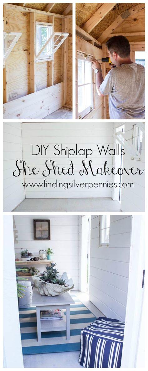 She Shed Diy Shiplap Walls Finding Silver Pennies Shed Makeover Shiplap Wall Diy Shed Interior