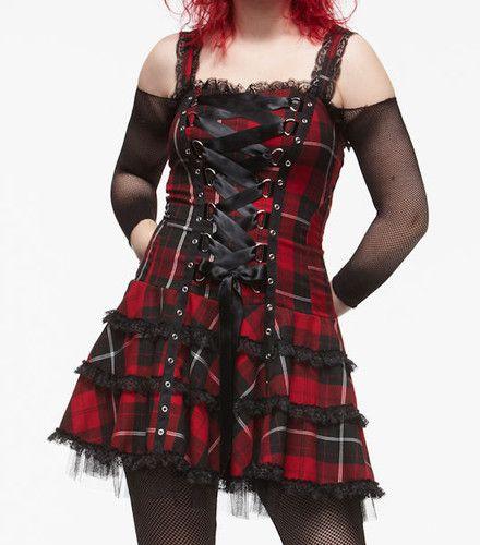 Hell Bunny Red Tartan Harley Dress Black Mesh Corset Laced Gothic Punk