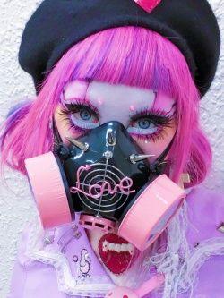 Photo1: Pastel Kawaii Goth Gas Mask , Respirator