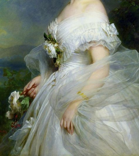 """Portrait of Adelina Patti"" (detail) by Franz Xaver Winterhalter (1805-1873)."