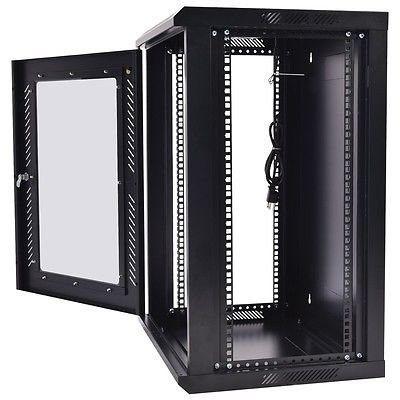 18u Wall Mount Network Server Data Cabinet Enclosure Rack Glass Door Lock W Fan Black Server Cabinet Data Cabinet Home Electrical Wiring