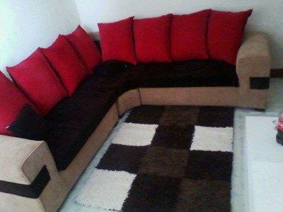 Red And Brown L Seat Nairobi Furniture