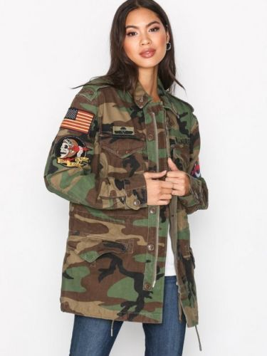 Polo-Ralph-Lauren-Women-Military-Army-Camo -American-USA-Flag-Skull-Field-Jacket 9d1581410
