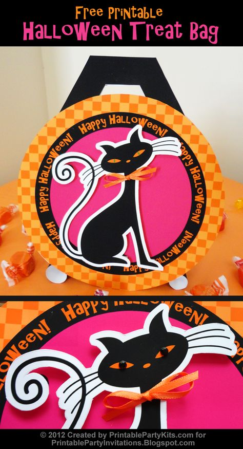 Free printable Halloween treat bag template and instructions