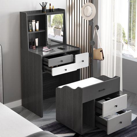 Modern Makeup Vanity Bedroom Multi-Functional Creative Mini Makeup Table with Drawers