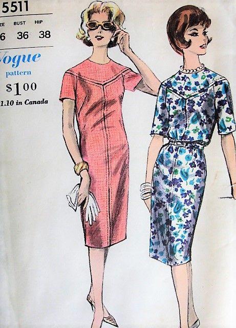1960s FAB Slim Day or After 5 Dress Pattern VOGUE 5511 Stylish Sheath Dress Seam Interest Bust 36 Vintage Sewing Pattern