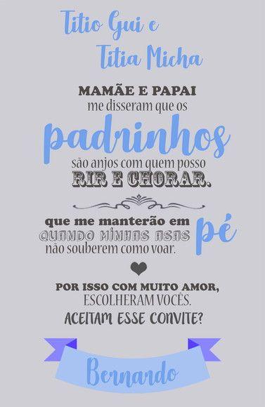 Convite Padrinhos Batismo Com Imagens Convite Padrinhos