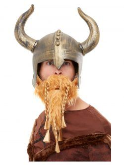 Gold Viking Crusader Medieval Hat Helmet Faux Fur Horns Cap Costume Accessory