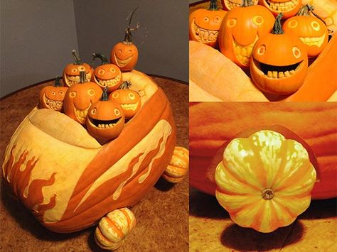 three views of a large pumpkin carved to look like a car with flame decorations and gourd wheels. A group of seven small carved pumpkins set like joy riders in the car, from the 2015 This Old House Pumpkin Carving Contest