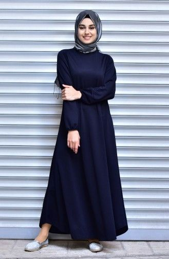 Sefamerve Kolu Lastikli Elbise 0006 04 Lacivert Arab Fashion Hijab Fashion Fashion