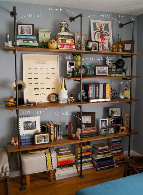 Industrial style shelves - a tutorial::: I like the industrial shelves on grey and colourful things in, if you hate the white walls that I've been pining.