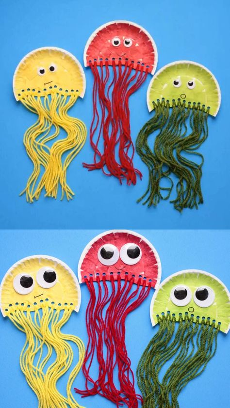 Paper plate jellyfish craft for kids. Easy ocean animal craft or deep sea unit s… Paper plate jellyfish craft for kids. Easy ocean animal craft or deep sea unit study for preschoolers, kindergartners and older kids. Summer Crafts For Kids, Paper Crafts For Kids, Paper Crafting, Diy For Kids, Diy Paper, Craft Kids, Crafts For Preschoolers, Crafts For Toddlers, Fish Crafts Preschool