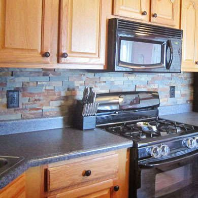 Love the color of these cabinets, the backsplash area (the smaller ...