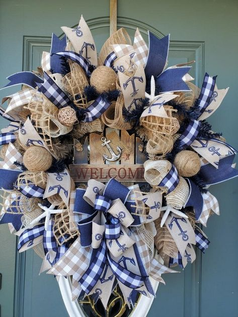 Summer Wreath for Front DoorCoastal WreathNautical WreathBeach WreathSummer Wreath BurlapNautical Wedding DecorFront Door