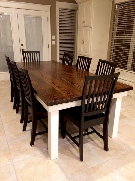 James James Solid Red Oak 8 L X 45 W Farmhouse Table Features A Jointed Dark Walnut Stai Farmhouse Dining Table Farmhouse Dining Room Table Farmhouse Table