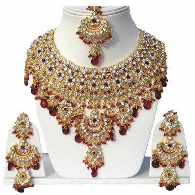 Kundan Zircon Latest Bollywood Wedding Designer Necklace,Earrings,Tikka Jewelry