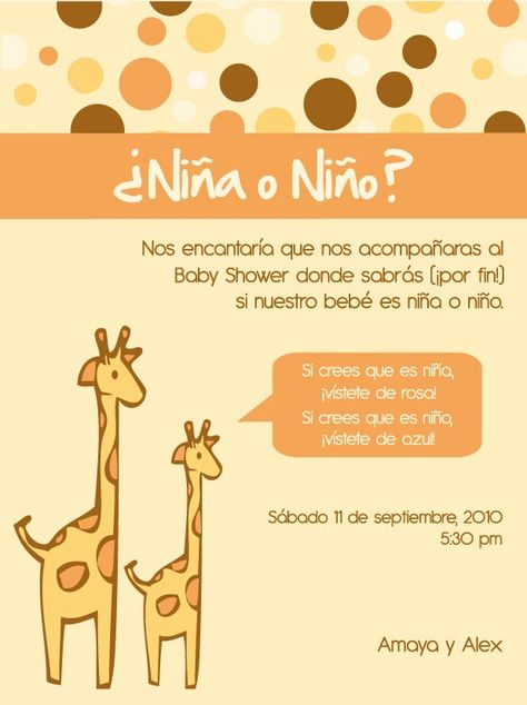 Tarjeta Baby Shower Jirafas Baby Shower Baby Shower