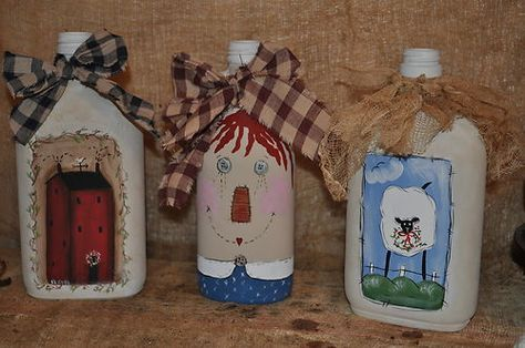 Set Of 3 Painted Vintage Glass Bottles Terrye French Design Sheep Saltbox House