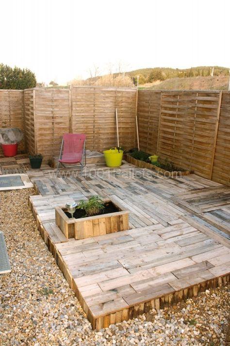 création du0027une terrasse en palettes palettes,Terrasse en bois - faire une dalle en beton exterieur