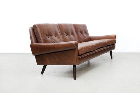 Vintage Leren Bank : Vintage skippers møbler deens design leren bank koltuk