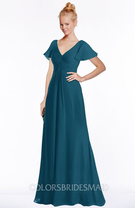 .ColsBM Ellen Modern A-line V-neck Short Sleeve Zip up Floor Length Bridesmaid Dresses #colsbm #bridesmaids #bridesmaiddress #weddings