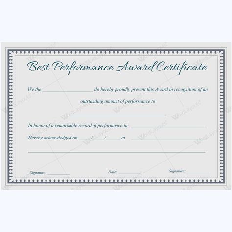 Sample OF Best Performance Certificate Template #performanceaward - building completion certificate sample