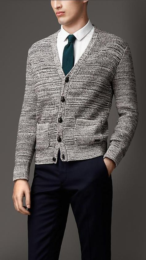 Burberry London Heavy Knit Mouliné Wool Cotton Cardigan