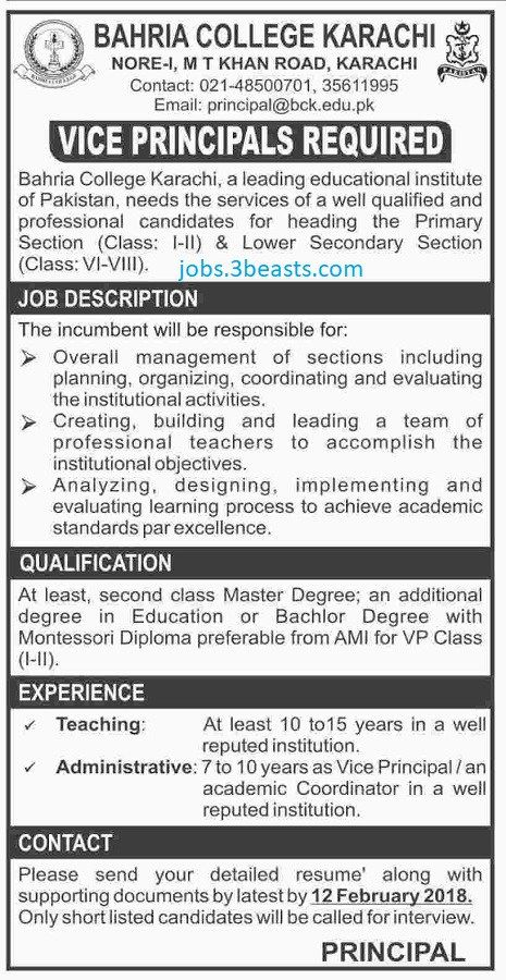 Jobs In Bahria College Karachi Advertised 28-01-18 | Jobs