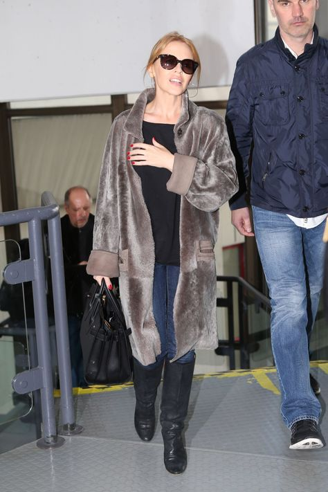 Kylie Minogue in Berlin – Arriving on Flight – March 2014