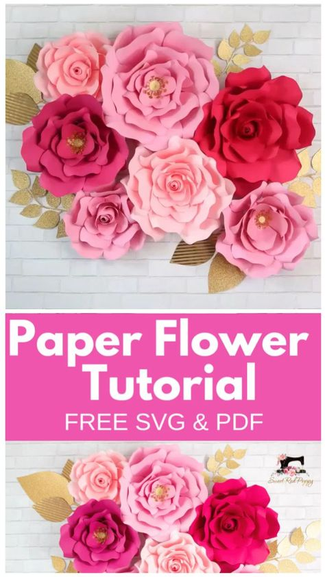 Learn How to Create Stunning Oversized Paper Flowers from Cardstock Using FREE SVG Files. Cut them by hand or with a Smart Cutting Machine. I'll teach you everything from creating a flower center to making a sturdy base to hang the flowers from.