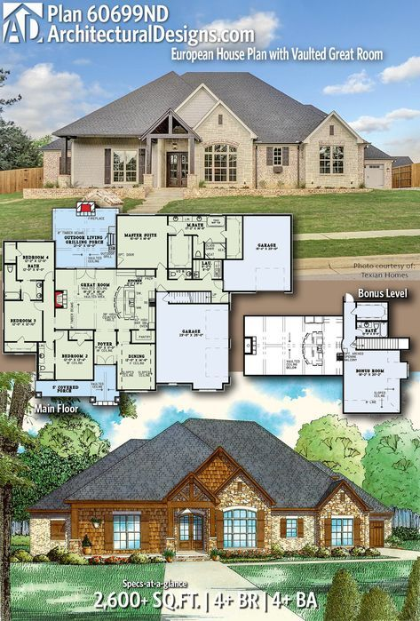 Plan 60699nd European House Plan With Vaulted Great Room European House European House Plan House Plans