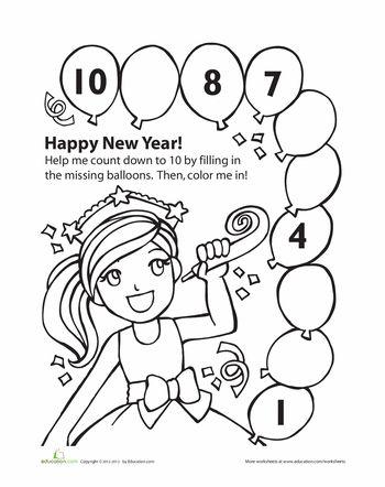 New Year S Countdown Worksheet Education Com New Years Worksheets New Years Countdown New Years Preschool