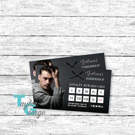 Barbershop Customer Punch Card Barbershop Loyalty Card Etsy Barber Shop Punch Cards Loyalty Card