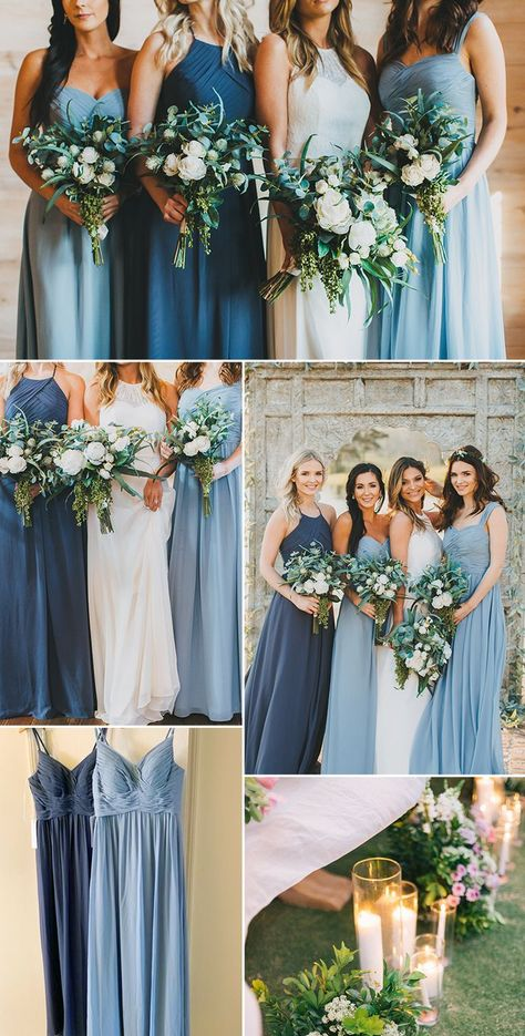 Dusty Blue Bridesmaid Dresses, Dusty Blue Weddings, Wedding Bridesmaids, Wedding Dresses, Bridesmaid Dresses Different Colors, Azazie Bridesmaid Dresses, Powder Blue Weddings, Tiffany Blue Bridesmaids, Burgundy Bridesmaid