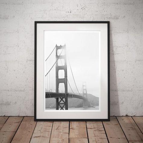 Black And White Photography Foggy Golden Gate Urban Minimal Modern Fine Art Print Monochrome Wall Dec Monochrome Wall Photographic Art Prints Large Wall Art