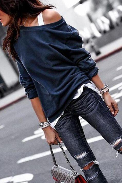 Fashion Long Sleeves One Shoulder T-Shirt