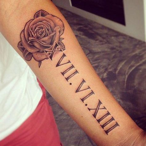 Roman numeral tattoos have become so popular. In this collection we have collected most beautiful roman numeral tattoo designs for inspiration. Girly Tattoos, Pretty Tattoos, Unique Tattoos, Small Tattoos, Unique Tattoo Designs, Tiny Tattoo, Flower Tattoos, Forearm Tattoos, Body Art Tattoos