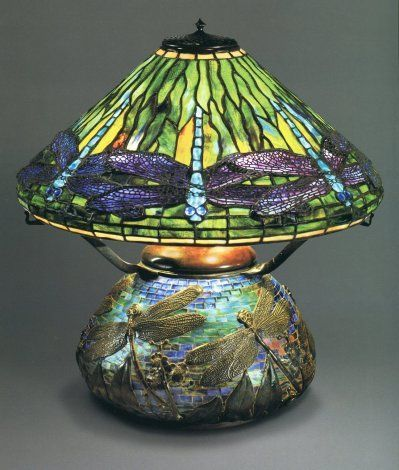 Dragonfly Lamp And Mosaic Base Original Oil Version Circa 1899 Designed By Clara Driscoll The Lamps Tiffany Lamps Tiffany Stained Glass Stained Glass Lamps